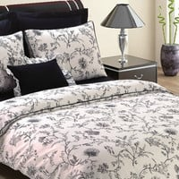 Custom Queen Unique Floral Printed on Ecru Backround Satin Bedding Set with Black Red Sheet, 6 pieces