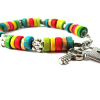 Hippie Wooden Beaded Colorful Bracelet With Padlock and Key