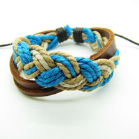fashion Adjustable leather Cotton Rope Woven Bracelets mens bracelet cool bracelet jewelry bracelet bangle bracelet  cuff bracelet 763S