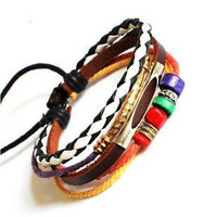 Adjustable Couple bracelets Cuff made of Leather Ropes and Color Wooden Beads unisex bracelet cuff bracelet Jewelry Bangle bracelet  687S
