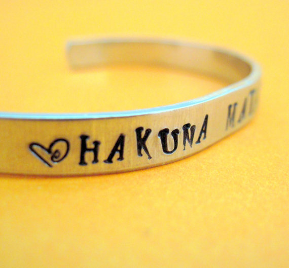 Hakuna Matata -  Disney Lion King Bracelet - Hand Stamped Aluminum Cuff - customizable