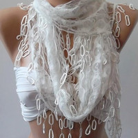 White  lace and Elegance Shawl / Scarf -- with Lace Edge,,,,
