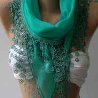 Nile Green - Cotton shawl /Elegance Shawl - Scarf with Lace Edge,,,.