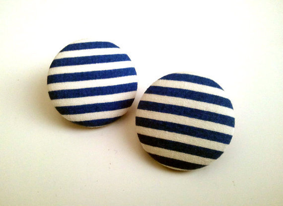 Blue and white striped sailor button earrings