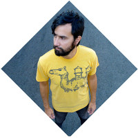 Mens tshirt - bright yellow - MEDIUM - industrial camel graphic on American Apparel mens fashion tees - THE DESERTER