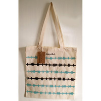 Hand Printed Tote Bag - Blue