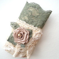 Shabby Chic Green Lace Cuff Bracelet, One of a Kind