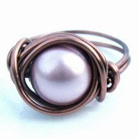 Swarovski Pearl Ring In Powder Pink.. on Luulla