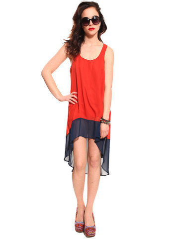 GYPSY WARRIOR - Color Block Hi Low Dress