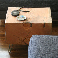 forest koan coffee table with hairpin legs - reclaimed old growth, modern industrial - deep forest raw beauty