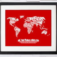 Oh The Places You&#x27;ll Go - World Word Map with Dr. Seuss Quote - Baby Shower Gift or Child&#x27;s Bedroom