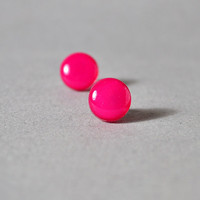 Razzberry Fizz Dots - Neon Magenta - Hypoallergenic Surgical Stainless Steel Posts - Christmas In July - CIJ