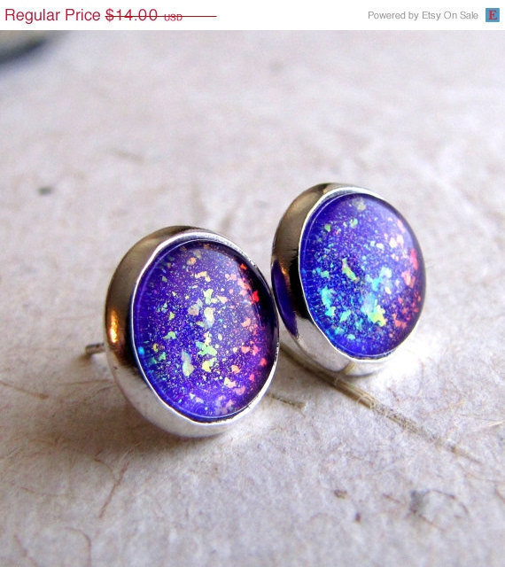 Violet Explosion 10mm Post Earrings