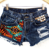 Vintage Levis Southwestern Studded Denim Jean Shorts Coachella  navajo Sz 27