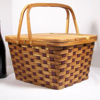 Pie carrier tote basket picnic basket handles red elm wood