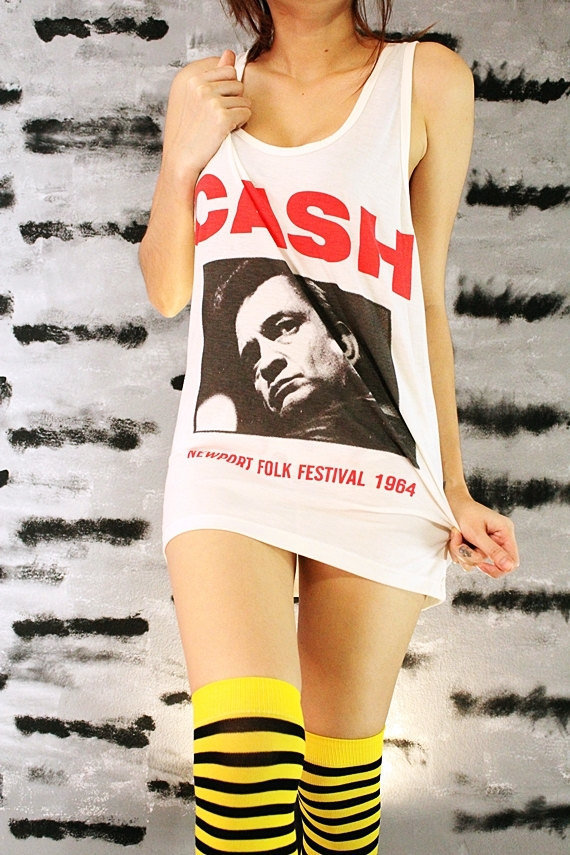 Johnny Cash Rockabilly Concert Vintage Rock White Singlet Tunic Shirt Tank Top Women Size S M