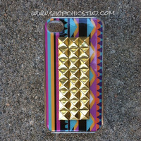 Studded iPhone 4/4s Case Multicolor Tribal Print Design Silver OR Gold Studs