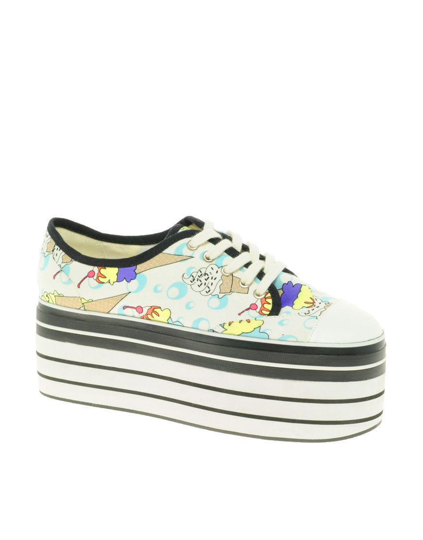 ASOS VOLLEYBALL Flatform Shoes In Ice Cream Print at asos.com