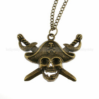 Antique bronze pirate necklace- Retro skull necklace- Hippie necklace