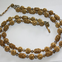 Gold Filigree Bead Necklace AB Crystal Double Strand