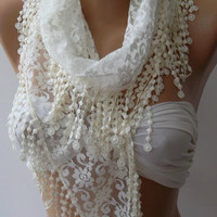 Pearl White - Elegance  Shawl / Scarf with Lacy Edge,,,,,