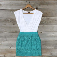 Tucked Lace Dress in Teal, Sweet Women&#x27;s Country Clothing