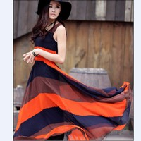 Elegant Color Block Sleeveless Round Collar Long Dress Red