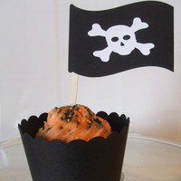Pirate Flag Toppers pick your colours 12 by cakeadoodledoo