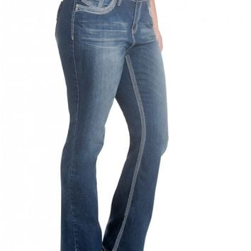 Plus Bailey Slim Boot- Low rise zip fly stretch pull-on jeans Clean back pocket