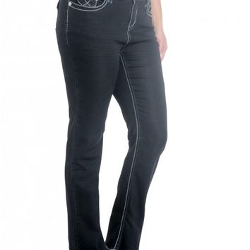 """Plus Bailey Bootcut w/ Pieced Denim Sequin Back Pocket- 33"""" Inseam- 19"""" Leg Opening Low rise zip fly stretch jean"""