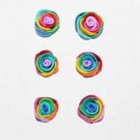 Set of Three Polymer Clay Rainbow Rose Earrings - by sew340 on madeit