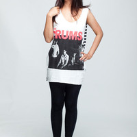 The Drums T Shirt American Indie Pop Band Women White T-Shirt Vest Tank Top Singlet Sleeveless Size M L