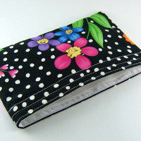 Reusable snack bag - Flowers dots eco-friendly girly kid child party favor black green cotton pouch - Sac collation - Ready to ship