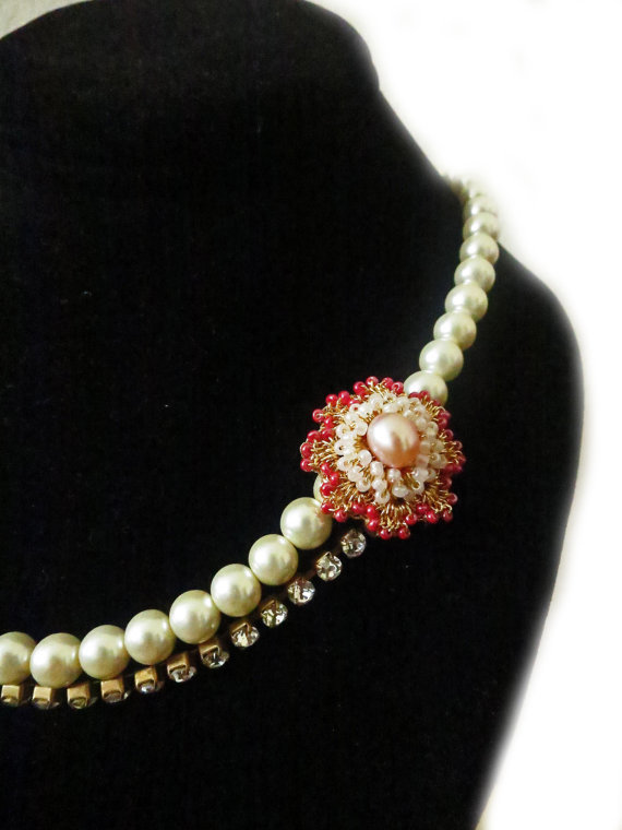 Handmade Bridal Pearl Necklace / Vintage Inspired Wedding / Gold Crocheted Brooch / Medallion / Freshwater Pearl / Rhinestone