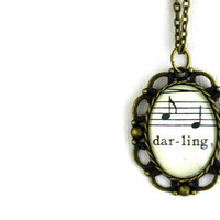 Vintage style sheet music necklace.  Romantic love jewelry gift for wife, girlfriend, fiance, wedding, valentines day, anniversary