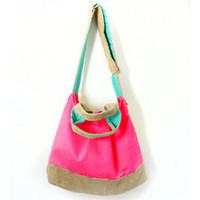 Pattypan Market Tote, Beach Bag, Messenger, Cross Shoulder w/ Handles in Rio Canvas (Fuschia, Aqua, Turquoise, Khaki)