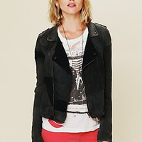 Free People Womens We The Free Moto Patch Jacket -