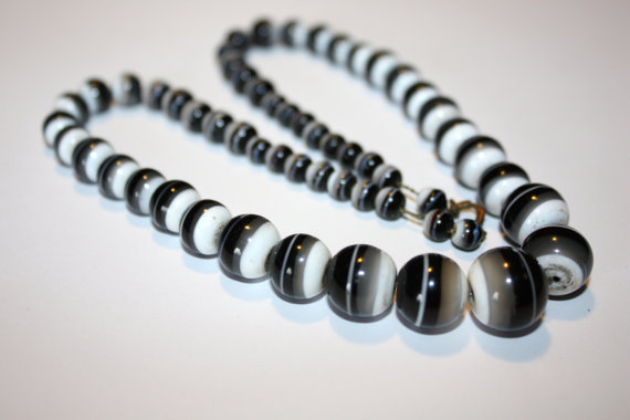 Vintage Necklace Striped Glass Bead 1950s Jewelry