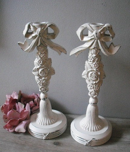 Gorgeous Taper candle holder set ... Shabby chic White Roses ... wedding Romantic pair
