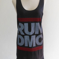 Run Dmc Rapper R&B Hip Hop Rap Rock -- Run Dmc Shirt Women Tank Top Tunic Top Hip Hop Sleeveless Singlet Black T-Shirt Size S , M