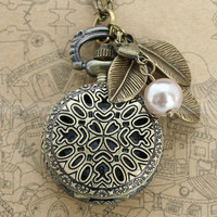 Vintage pocket watch necklace with antique bronze cute clover design pendant and leaves , beautiful pearls