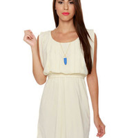 Cute Cream Dress - Pleated Dress - Short Sleeve Dress -  $43.00