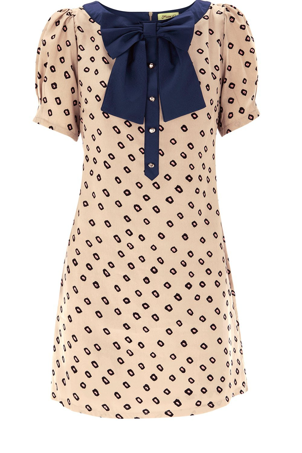 Bow Collar Print Dress