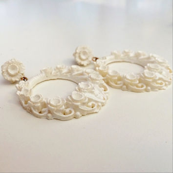 Vintage Hoop Earrings // White Rosette Dangle Hoop