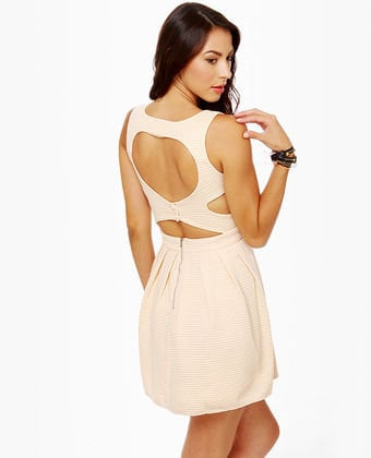 Cute Cutout Dress - Cream Dress - Skater Dress - $47.00