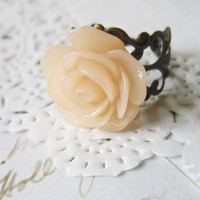 Crystal Pink Flower Cameo Ring - Filigree  Rose Cabochon