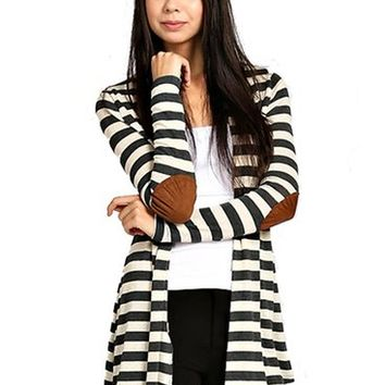 Elbow Patch Striped Cardigan Charcoal