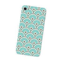 Sun Waves Pattern Iphone Skin 4S: Gadget Sticker Cover for Iphone 4 Skin - Southwest Tribal in Turquoise, Blue, Brown and Cream Iphone Skin