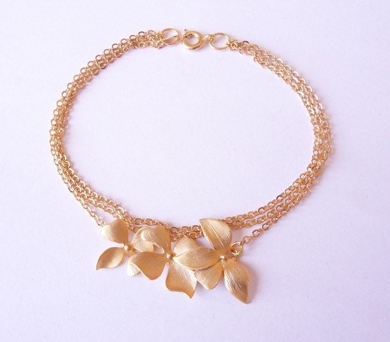 chain bracelet, multistrand bracelet, gold flower bracelet, charm bracelet, dainty bracelet by SABOTAGEandCO