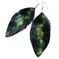 Glitter Galaxy -  Black Faux Leather Feather Earrings